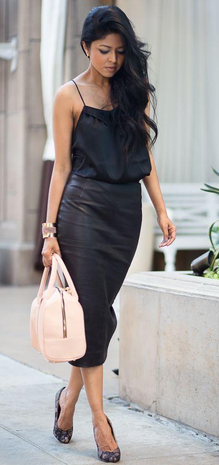 5e34ccbb4ce Street fashion black pencil skirt and camisole