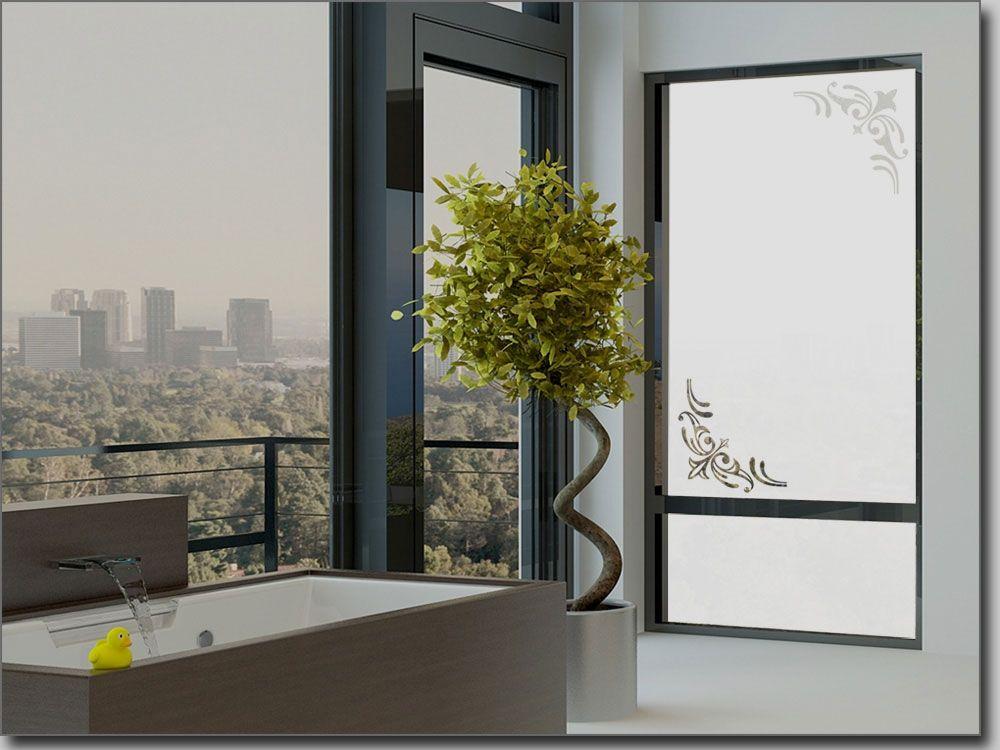 Milchglasoptik Ecken Lilie - folie für badezimmerfenster