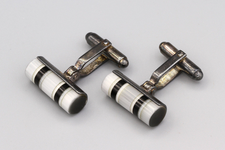 Sterling Silver Onyx Bullet Cufflinks