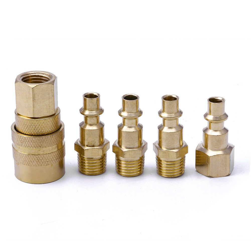 4 89 5pcs Brass Quick Coupler Set Solid Air Hose Connector Fittings 1 4 Npt Tools Ebay Home Garden