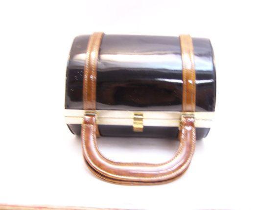 Items similar to Black Paten Leather Handbag on Etsy