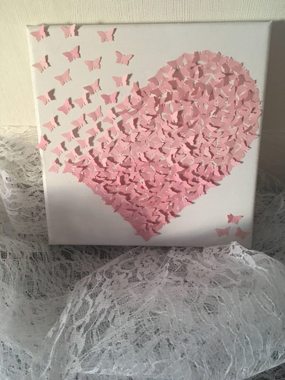 Picture Butterfly 3d stretcher canvas heart birth wedding birthday ...