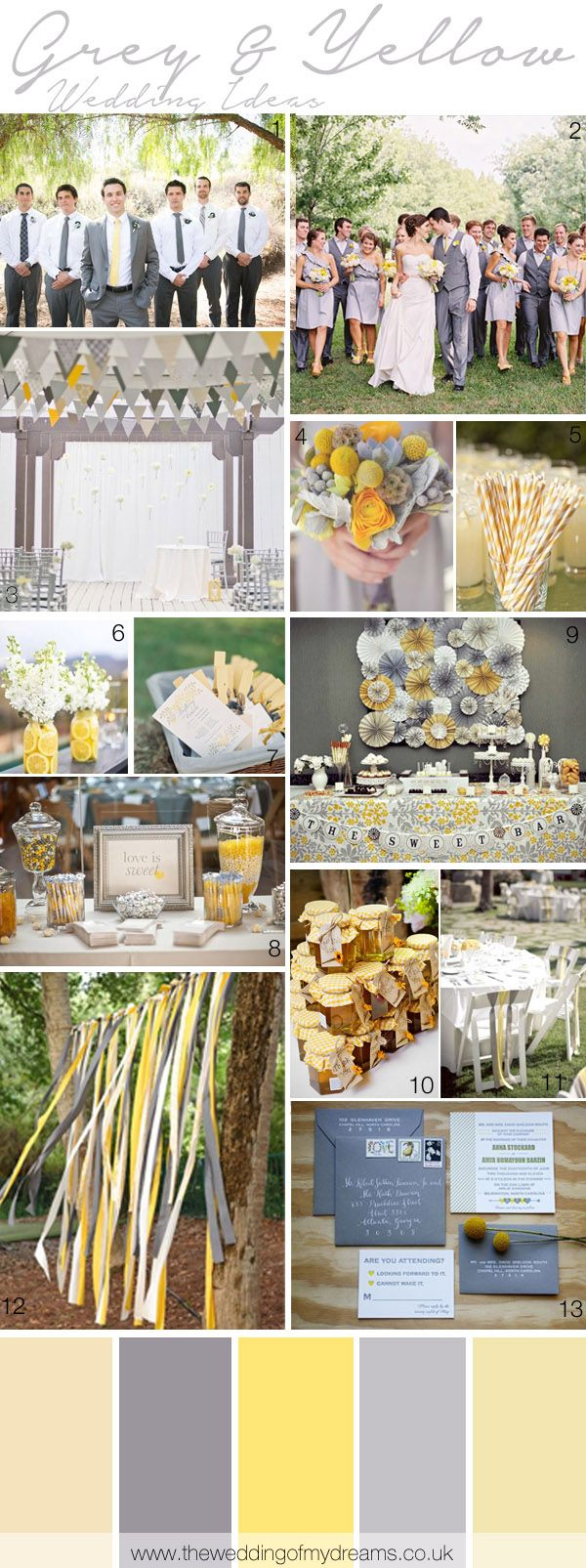 Wedding decorations yellow and gray  Yellow And Grey Wedding Ideas  Grey weddings Grey and Wedding