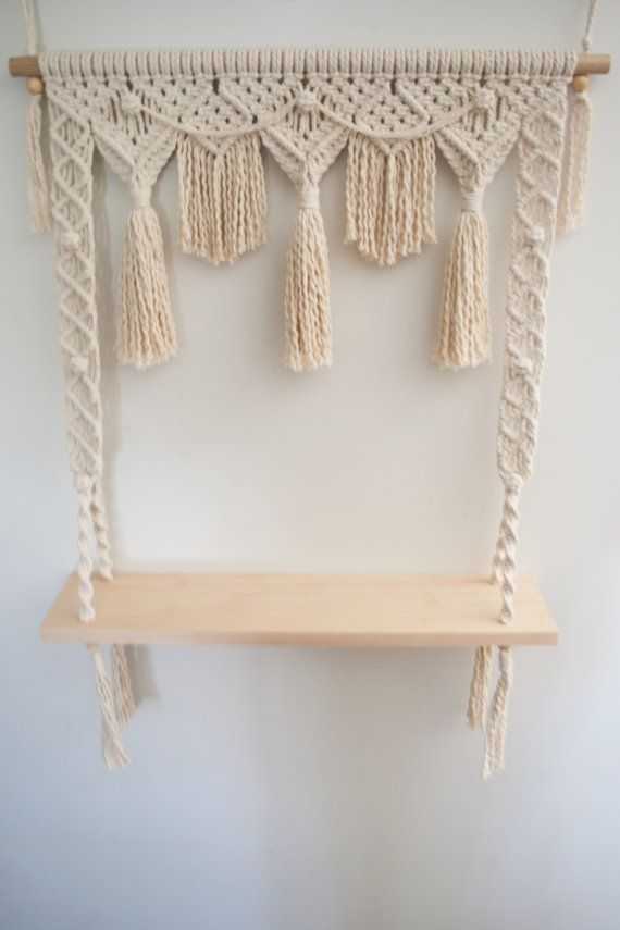 This Fiesta Macrame Shelf with a bunting design is a ...