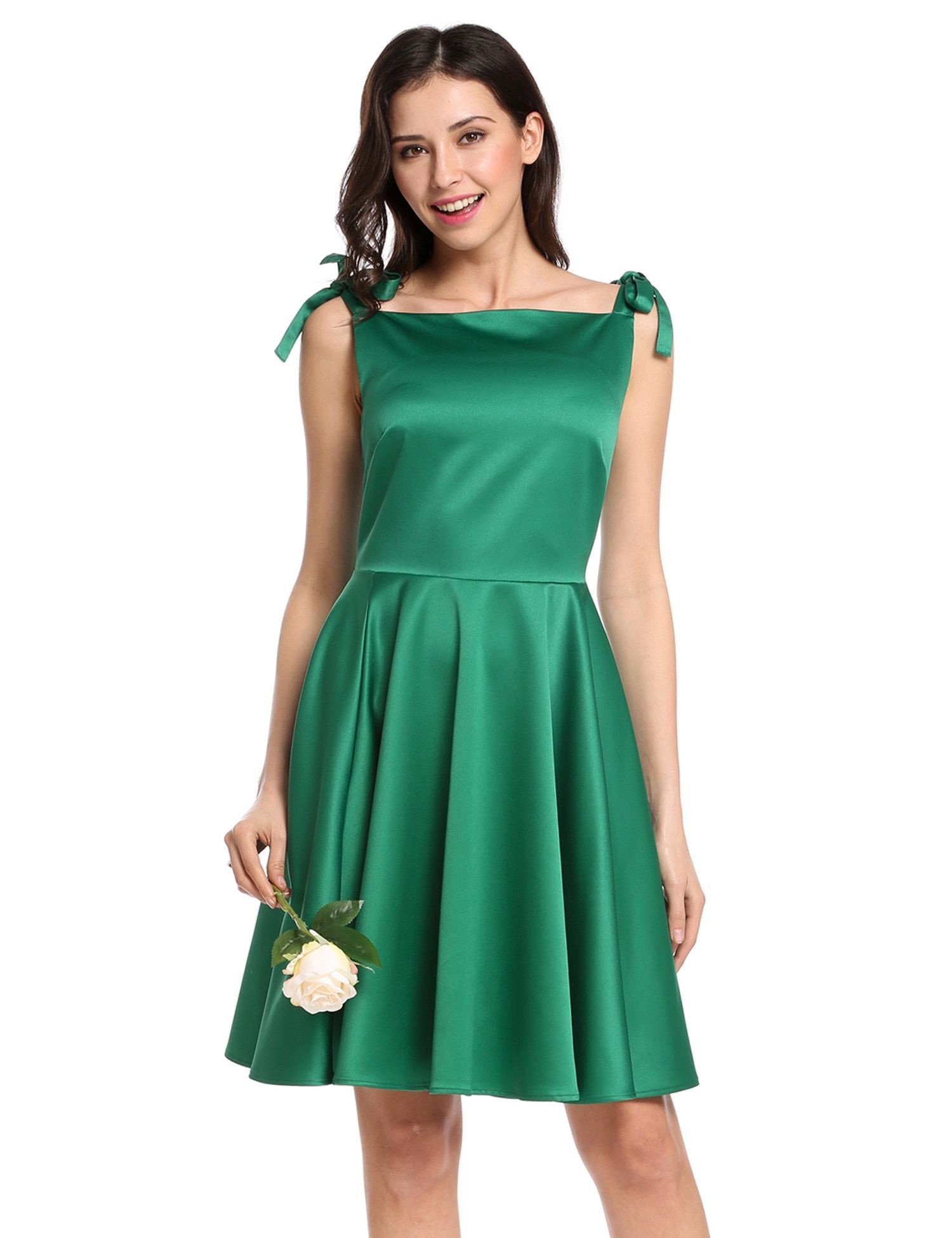 Green Square Neck Sleeveless Lace Up Vintage Style Party Dress ...