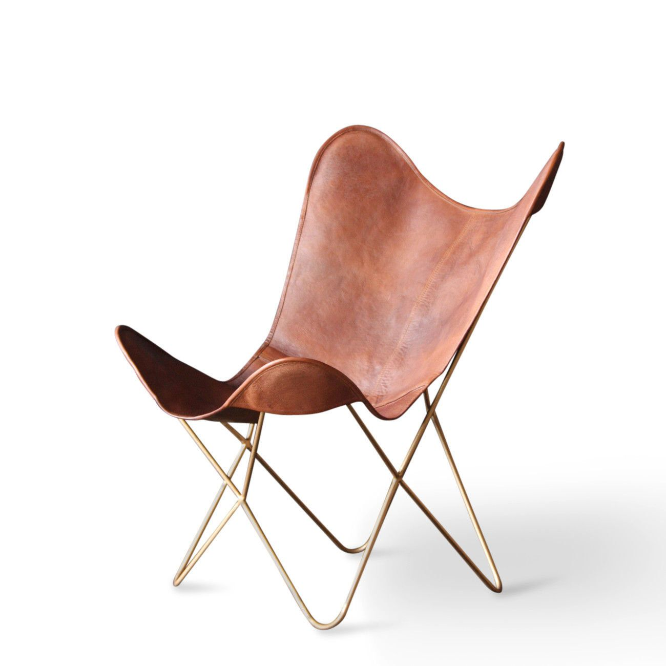 Leather Erfly Chair Gold Frame