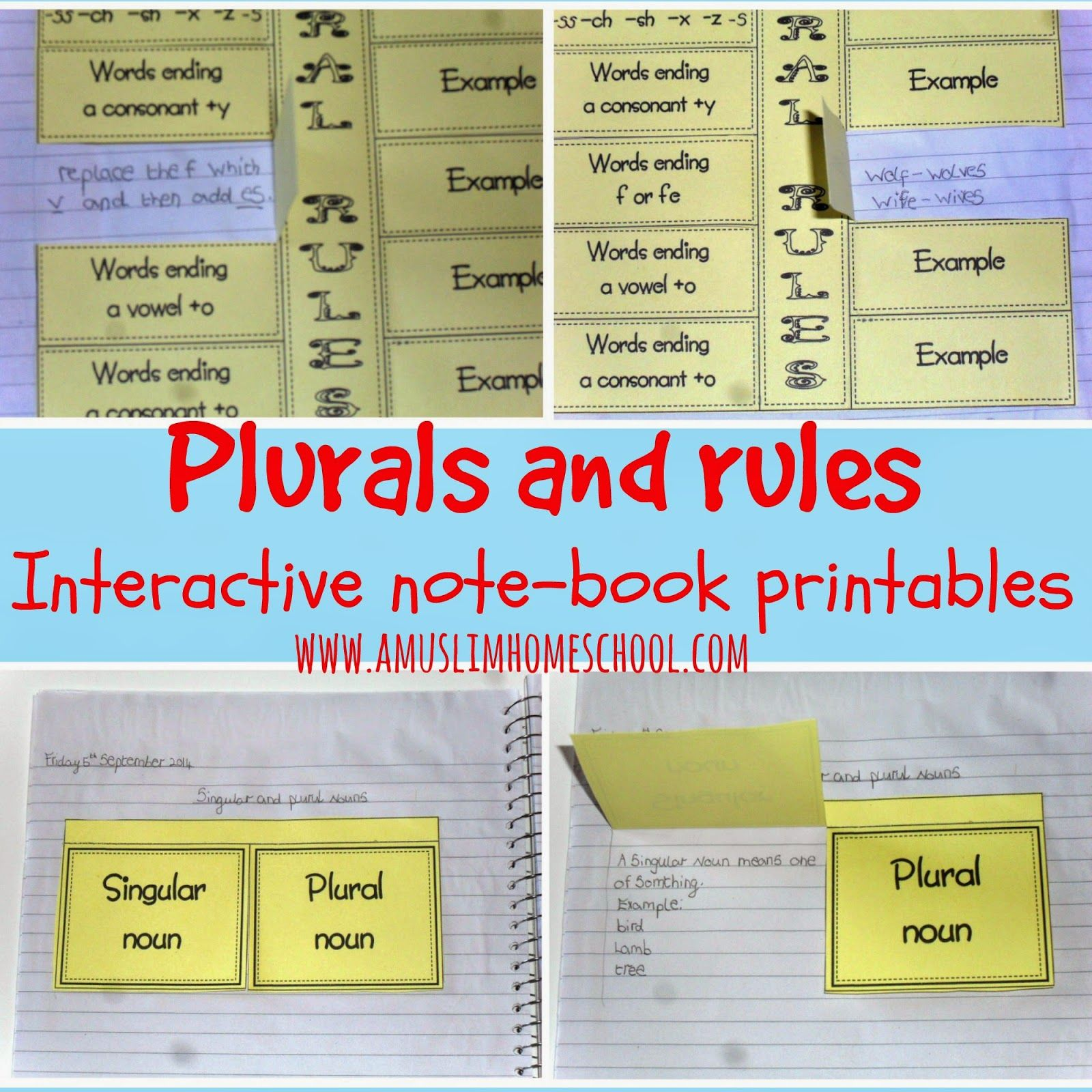 Plural Rules Free Printables For Interactive Note Books