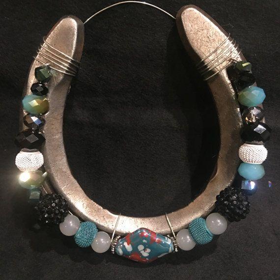 Turquoise and Black Beaded Horseshoe by WrappedNRibbons on Etsy