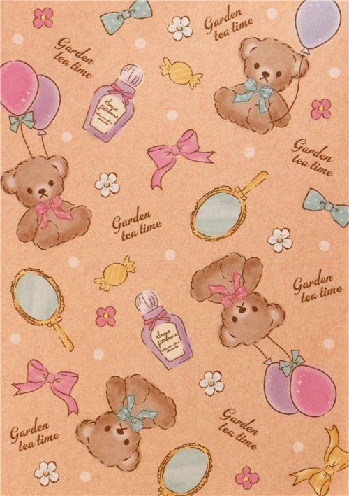 Kawaii White Purple Turquoise Teddy Bear Girl Block Note Pad By Q