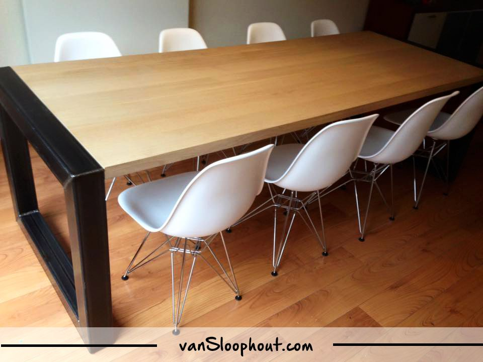 Nieuw eiken tafel met industrieel o frame eiken staal tafel