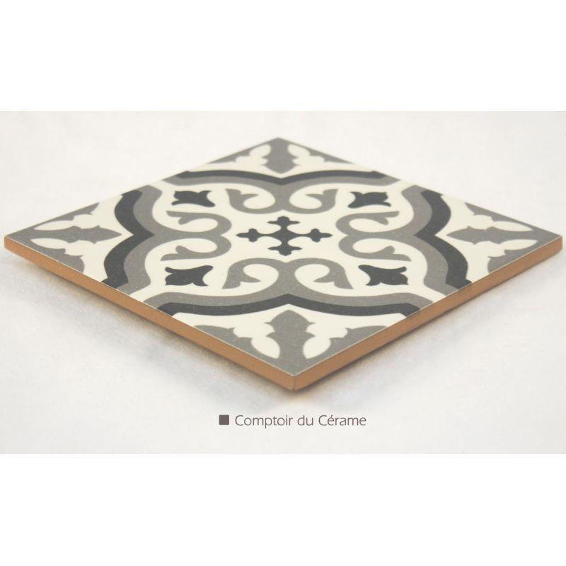 Carrelage imitation carreau ciment sol et mur blanc 20 x for Carrelage imitation carreaux de ciment