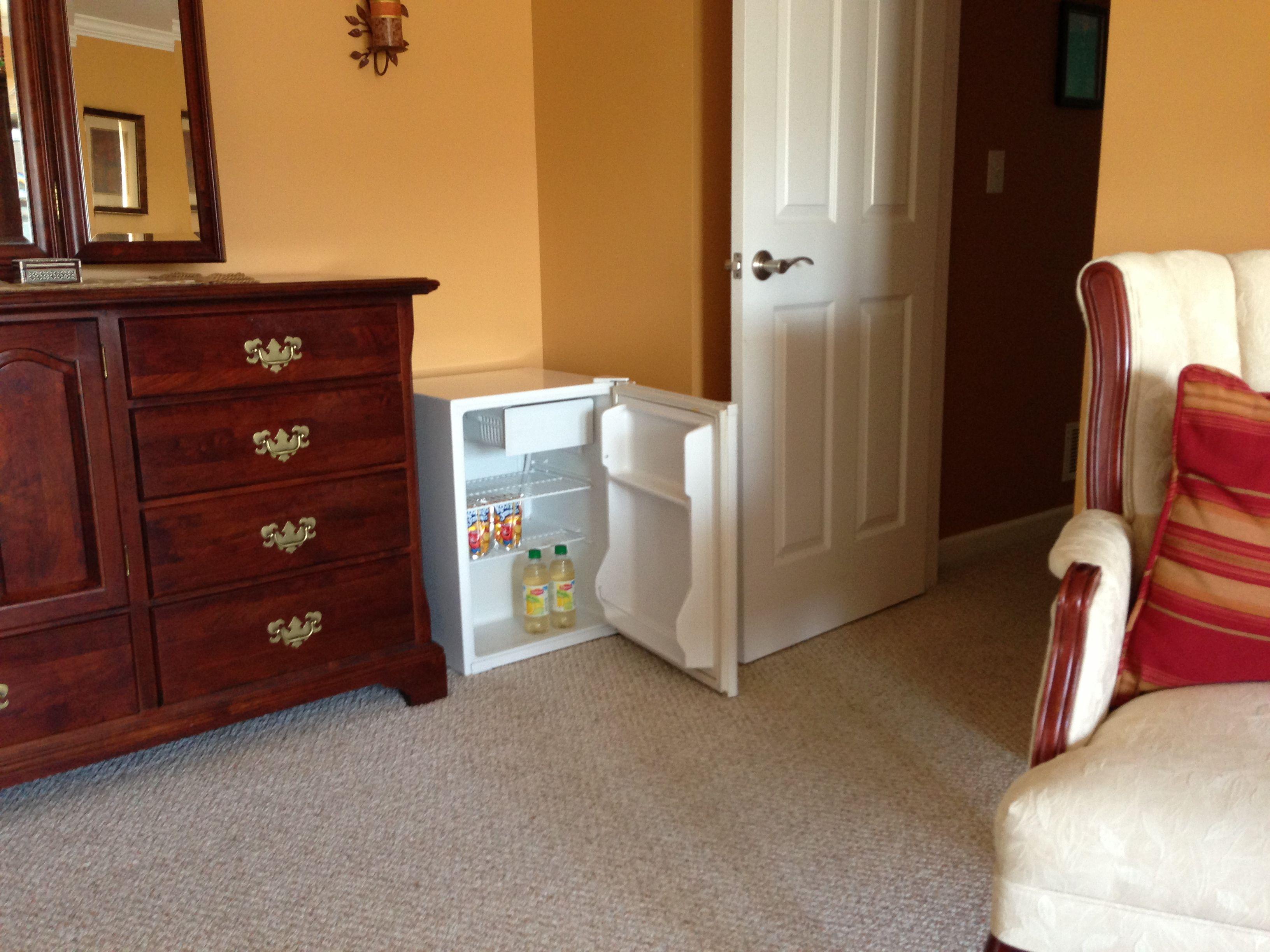 . Laziness idea  I put our mini fridge in a corner of our master