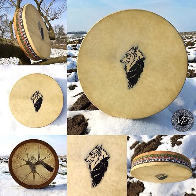 New Drum Is On Board 40cm The White Wolf Symbolize Our Inner Wisdom