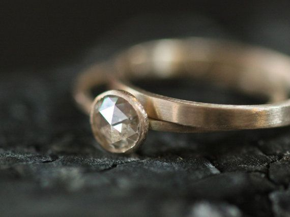 Engagement Ring Rose Cut 6mm Moissanite In Recycled 14k