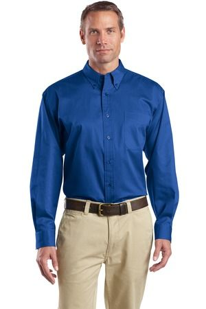 Buy the CornerStone - Long Sleeve SuperPro Twill Shirt Style SP17 from SweatShirtStation.com, on sale now for $26.88 #buttondown #twill #businesscasual Royal