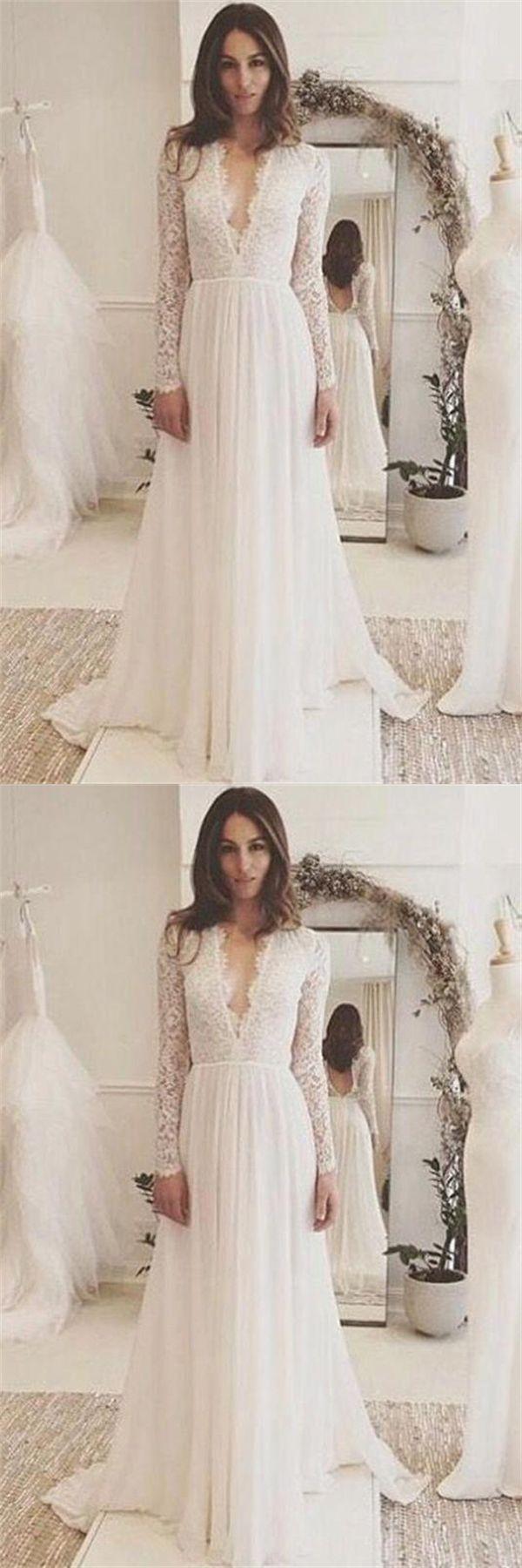 Ivory beach wedding dresses  Classy Deep Vneck Long Sleeves Ivory Lace Chiffon Beach Wedding
