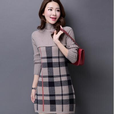 Available in Large Sizes Autumn Winter Women s Cashmere Sweater Dress Plus  Size Turtleneck Plaid Knit Sweater Women Winter Korean Fashion Pullovers  Lady ... 43e3977c0