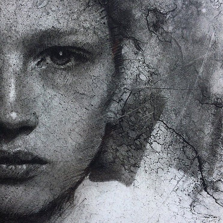 Working around the clock on my solo exhibition. You'll see those later. In the meantime here's a detail of burnt wood on paper.  Charcoal on paper. #pastwork #art #charcoal #drawing #caseybaugh by caseybaugh