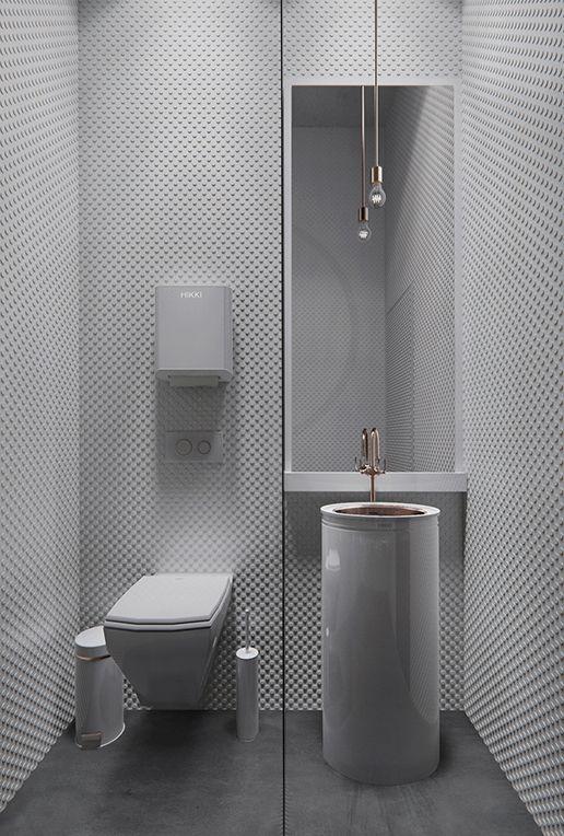 modern bathroom in white with texure  HIKKI Restaurant Bar in Osaka - Alexander Yukhimets