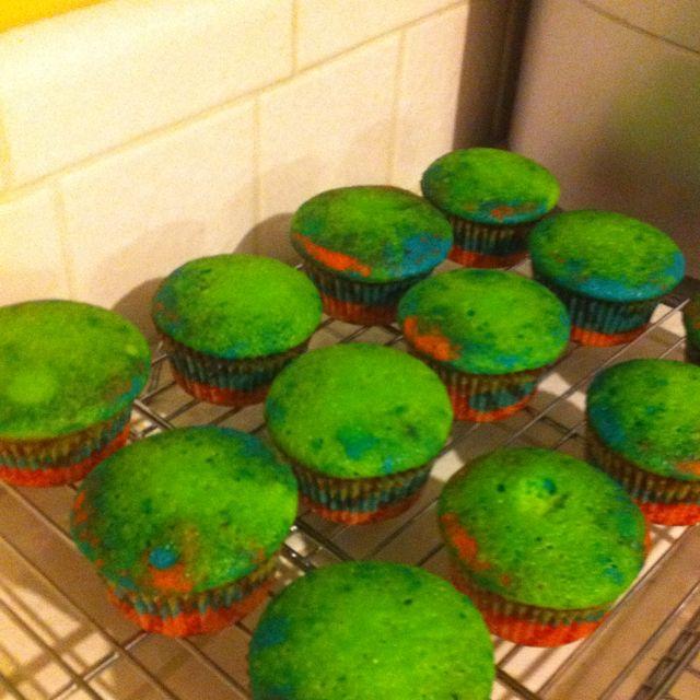 Rainbow cupcakes I made for King's birthday!