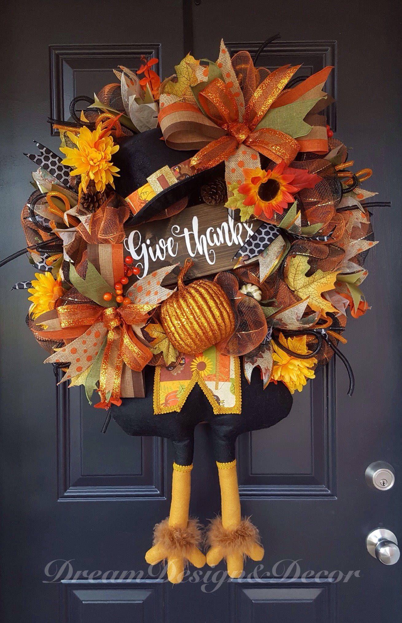 Thanksgiving Turkey Wreath Give Thanks By Dreamdesigndecorshop On Etsy Turkey Wreath Deco Mesh Wreaths Fall Decor