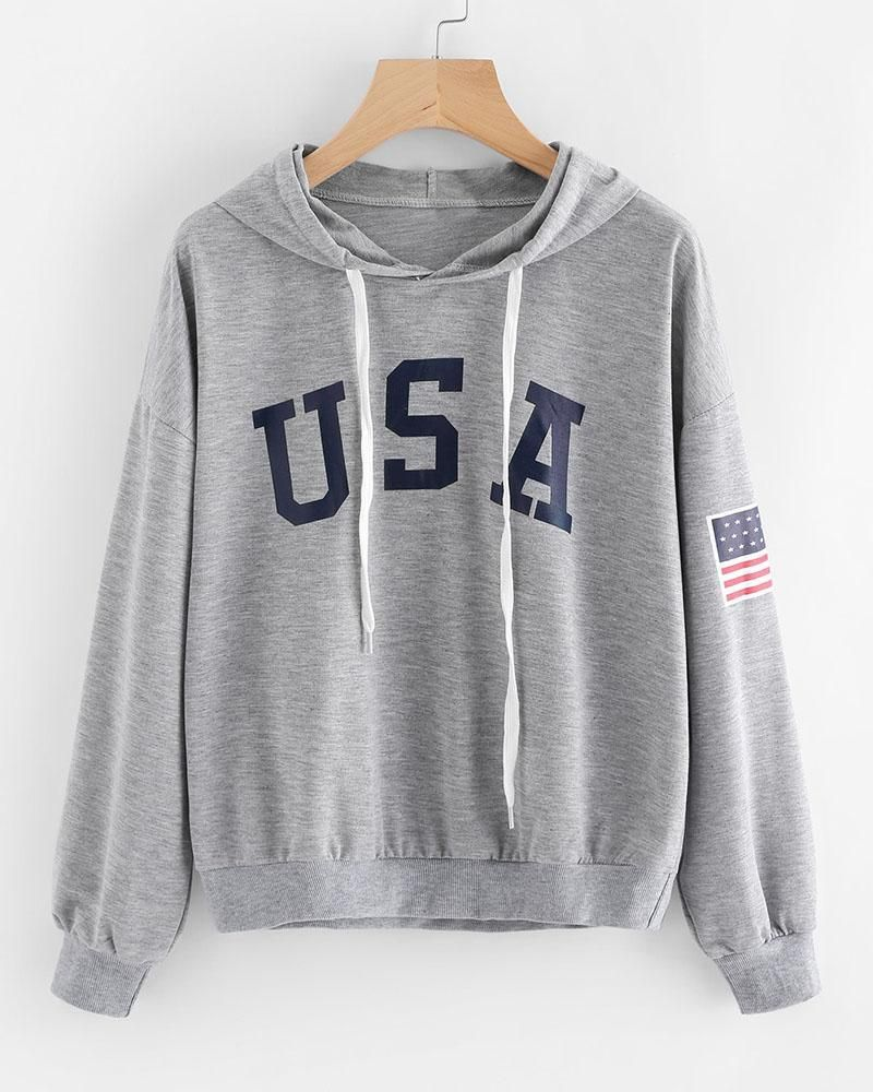 5afa7f32811d Grey USA Flag Slogan Print Drawstring Hoodie in 2019