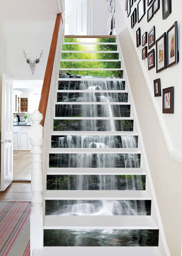 3d waterfall trees stair risers decoration photo mural vinyl decal wallpaper au home garden home décor wall stickers ebay