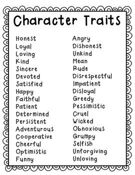 Character Trait Packet for Readers' Workshop (With images
