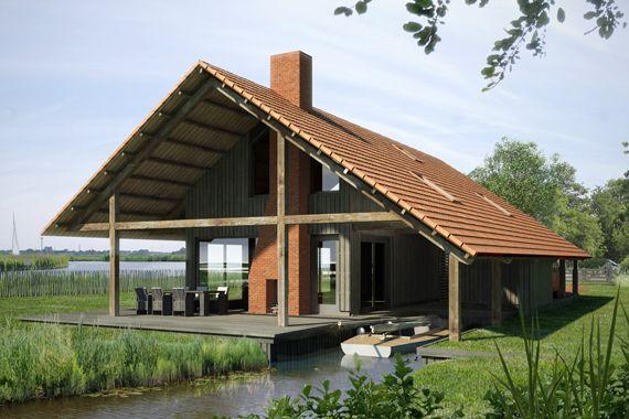 Mooi asymmetrisch dak Minder kleur dak, schoorsteen Studio SKA