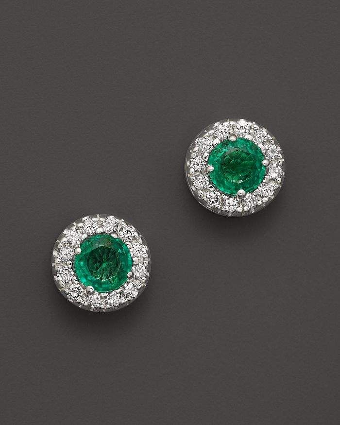bdf0226e6cc21 Bloomingdale's Emerald and Diamond Stud Earrings in 14K White Gold ...