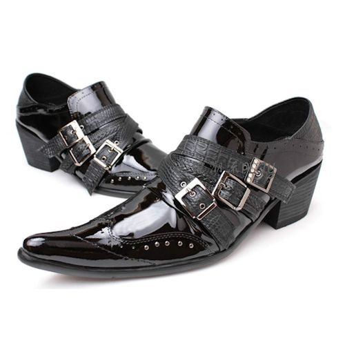 Men Black Patent Leather High Heel Pointy Hipster Fashion Shoes Custom SKU-1100272