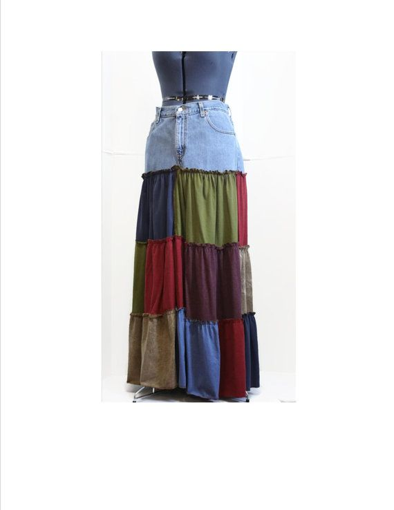 Custom Made from YOUR Jeans Upcycled Skirt Hippie by Sweetbriers