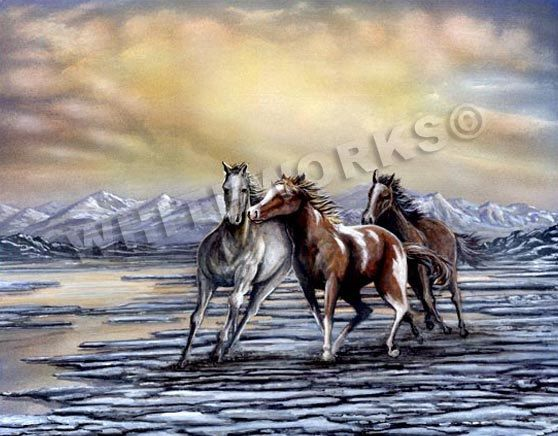 Stallions horses glacier mountains palomino water by whiteworksart
