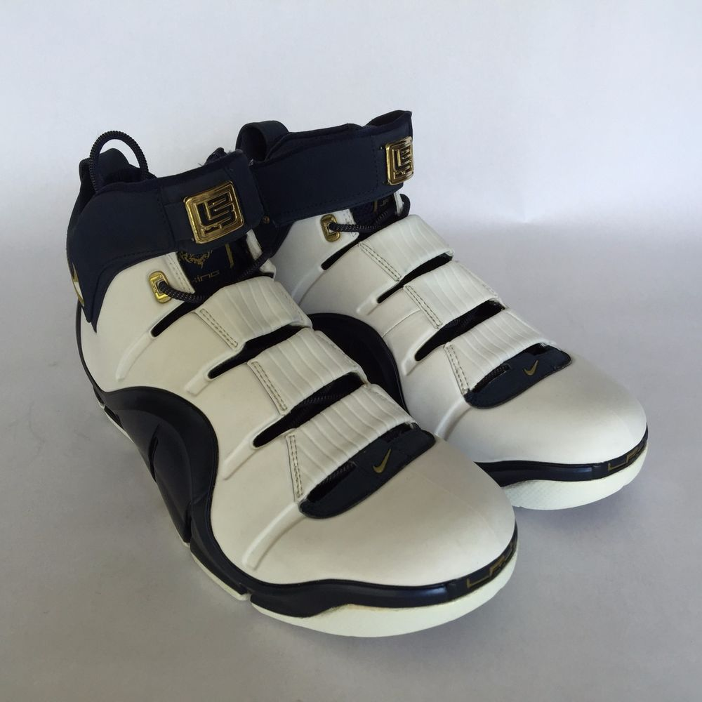 official photos d169e a4417 NIKE ZOOM LEBRON IV 4 WHITE MIDNIGHT NAVY METALIC GOLD MAY 21ST 2003 MENS  11.5  Nike  BasketballShoes