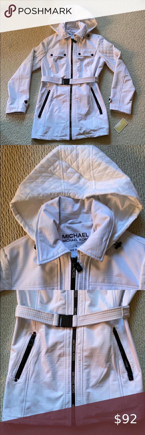 Michael Kors White Spring Jacket Coat Belted New Michael Kors Jackets Michael Kors Fall Coat [ 1740 x 580 Pixel ]