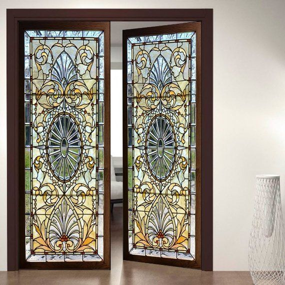Do It Yourself Home Design: Door Wall Sticker *Stained Glass With Bevels* / Self