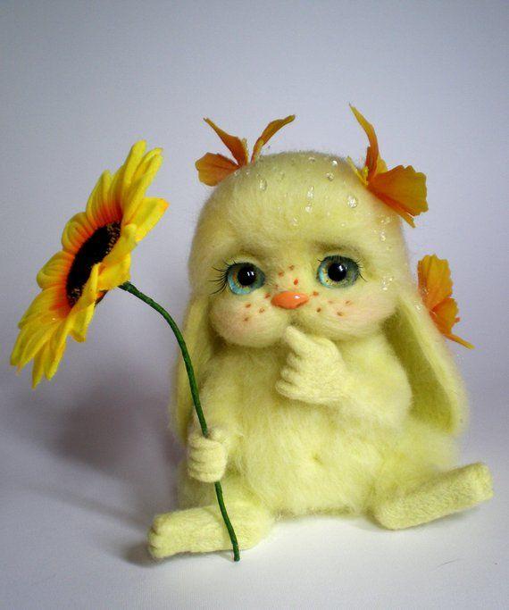 Needle Felted Bunny,sunny yellow bunny,Sweet Bunny,Needle felted toy,Hand made toy,Bunny with butter