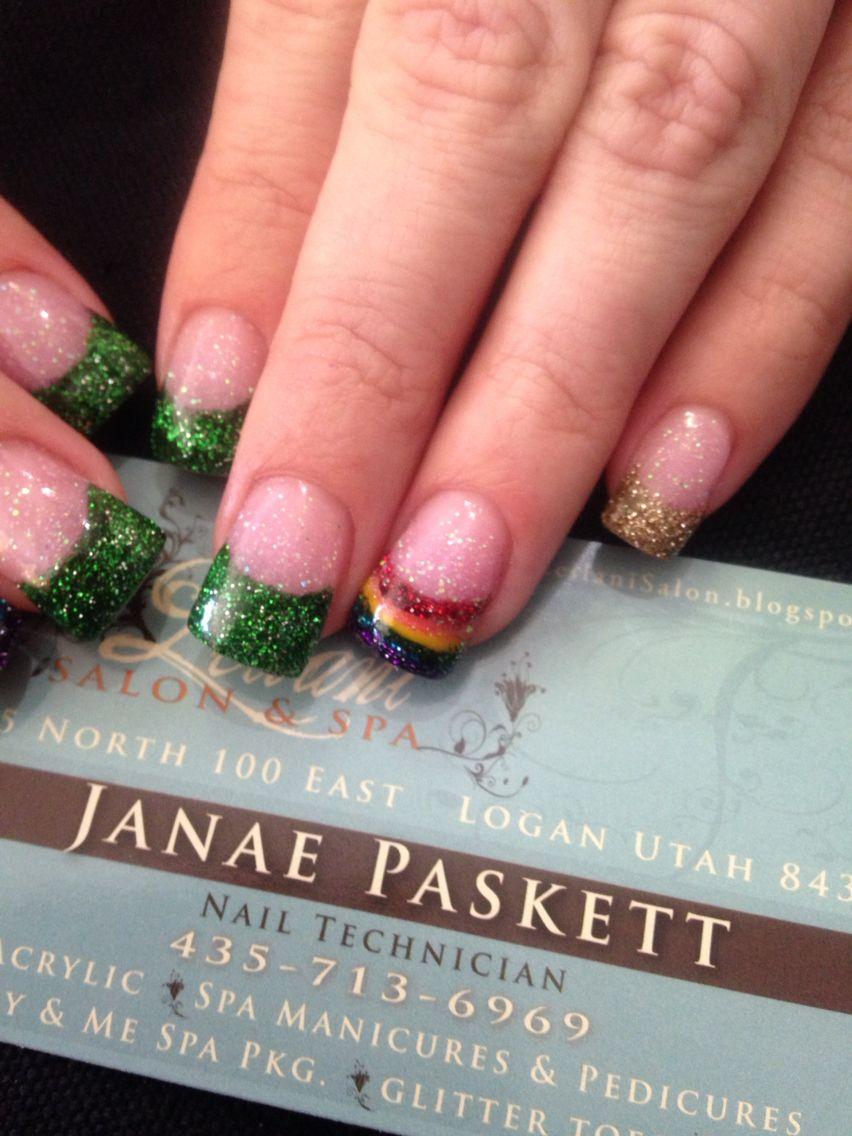 St. Patrick\'s day acrylic nails, rainbow nails, green glitter CND ...