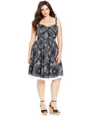 American Rag Plus Size Printed Half Zip Flare Dress Sexy Dresses