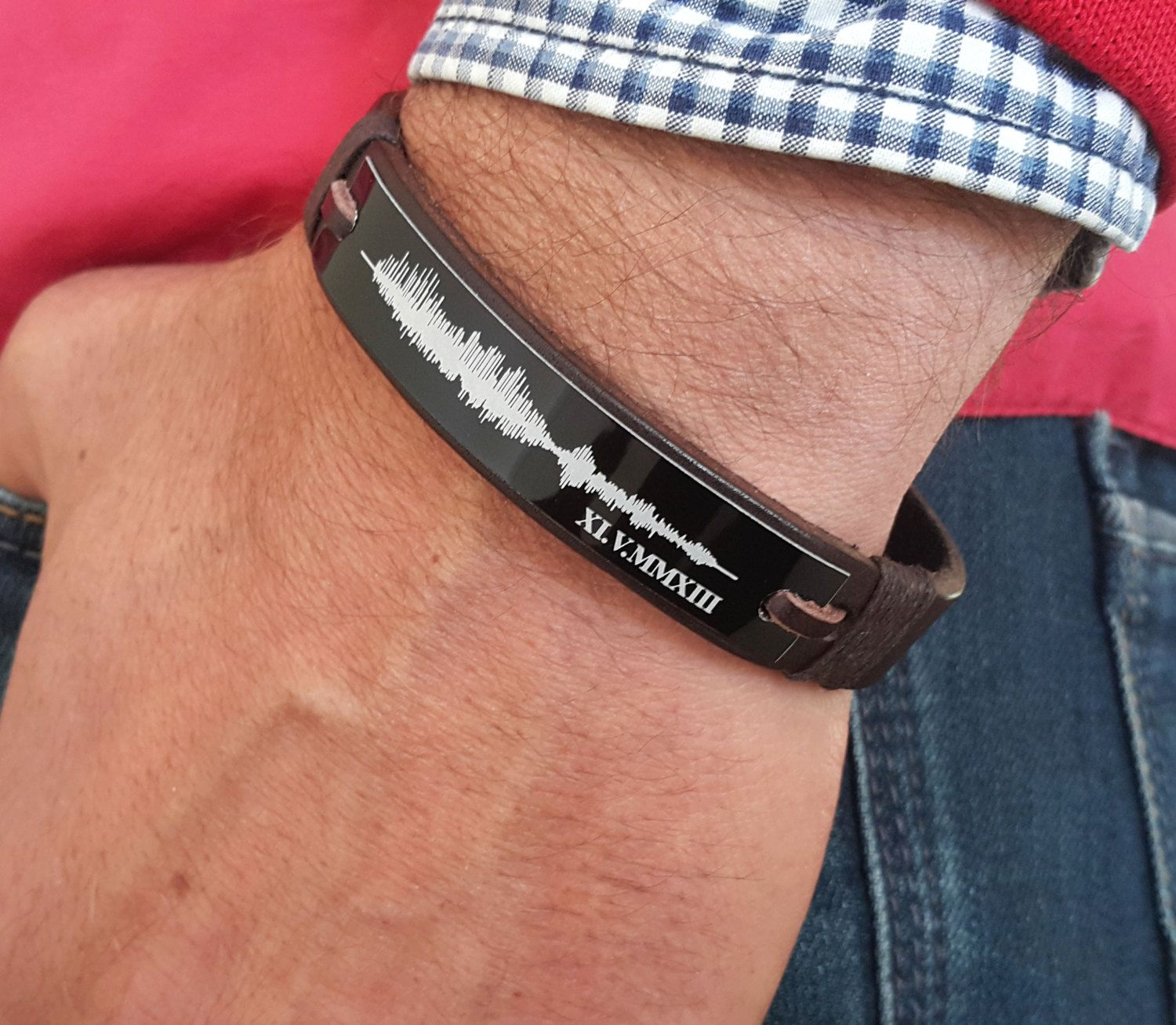 Custom Sound Wave Bracelet Waves Jewelry Personalized Leather Voice Engraved Memorial Gift Anniversary For Him