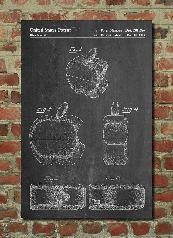 Apple Logo Flip Phone Patent Poster, Apple Computer, Steve Jobs - new enterprise blueprint apple