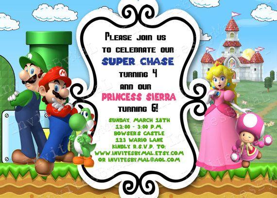 Super Mario Brothers And Princess Peach Birthday By InvitesByMaL Party