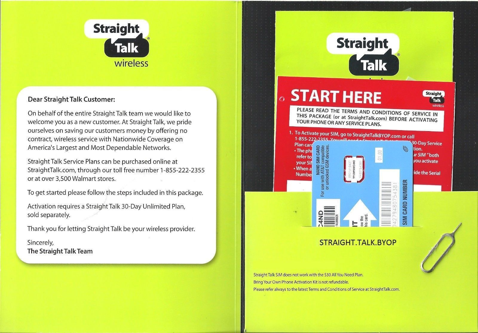 Straight Talk Nano SIM Card for iPhone 5 5c and 5s At&t