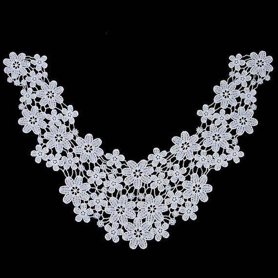 Choose Colors. 1Pc White & Black Small Flower Lace Fabric Neckline Lace Floral Lace Collar Venise Se