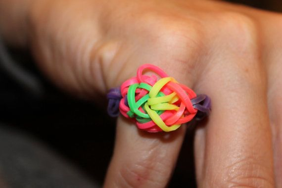 Rainbow Loom Rainbow Ring by GlittabombFeFe on Etsy