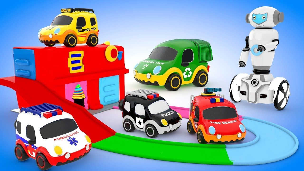 Car toys for toddlers  Emergency Vehicles and Mini Robot teaching Colors Learn Vehicle