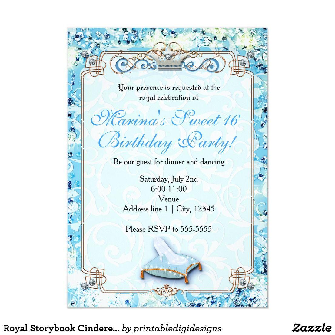 Royal Storybook Cinderella Sweet 16 Invitation Zazzle Com In 2019