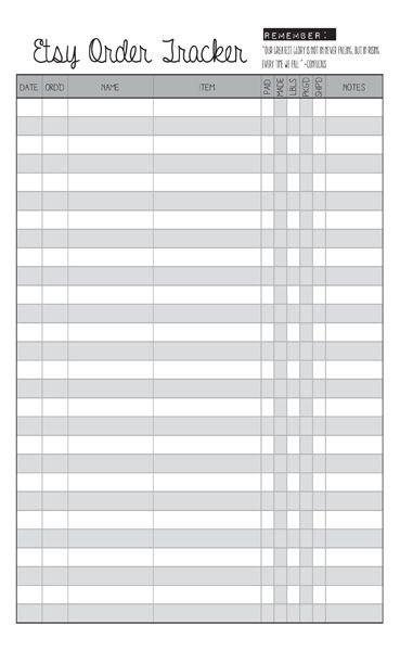 Blank Etsy Order Tracker Printable Planner    wwwetsy - inventory supply list