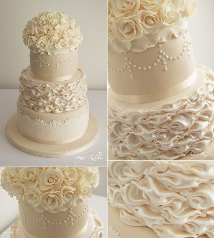 Ivory Weddings Beautiful Cake: CHAMPAGNE AND IVORY WEDDING CAKE . By Sugar Ruffles