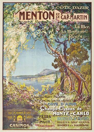 Ernest Louis Lessieux 1848 1925 Menton Et Le Cap Martin La Mer La Montagne Les Fleurs Fron Vintage Travel Posters Travel Posters Retro Travel Poster